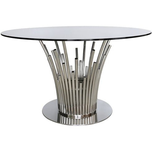 Alexandria Metal + Glass Polished Steel Dining Table (135 x 75cm)