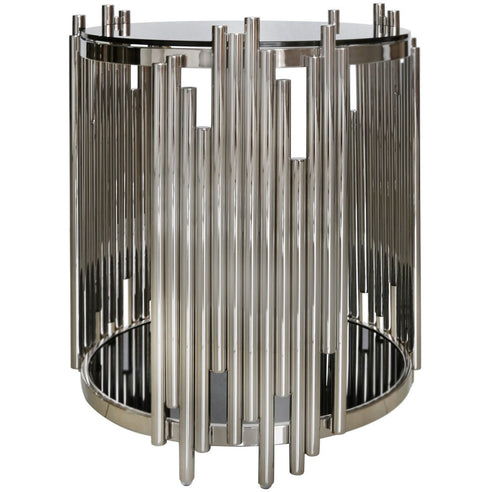 Alexandria Metal + Glass Polished Steel Round Side Table (50 x 58cm)