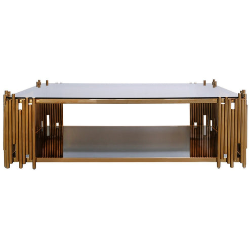 Alexandria Metal + Glass Rose Gold Rectangular Coffee Table (140 x 80 x 43cm)