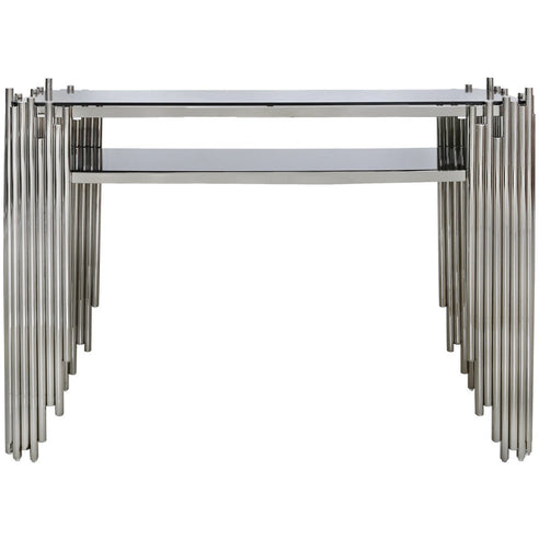 Alexandria Metal + Glass Polished Steel Console Table (120 x 35 x 83cm)