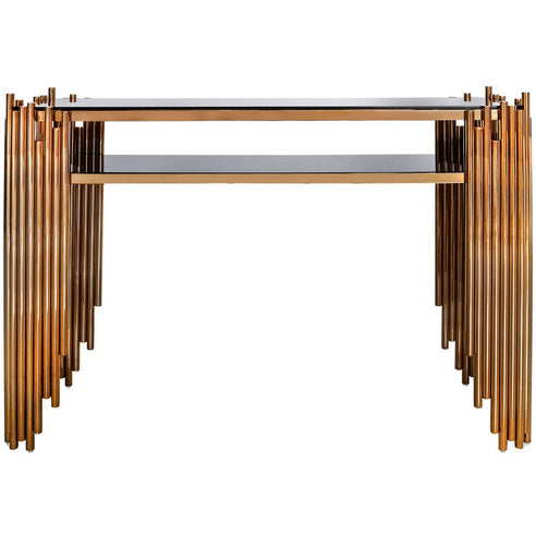 Alexandria Metal + Glass Rose Gold Console Table (120 x 35 x 83cm)