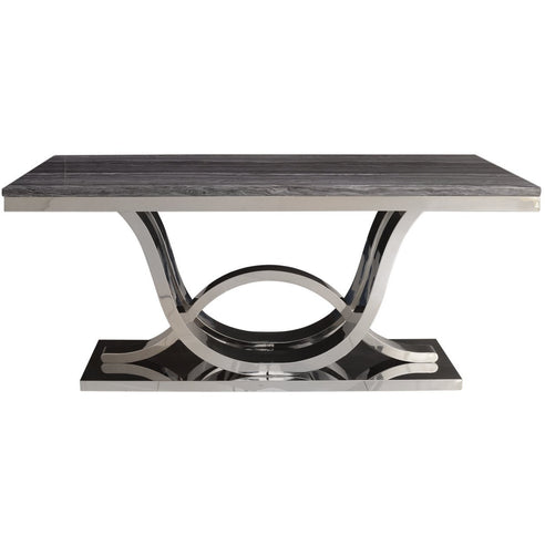 Saturn Grey Marble and Chrome Dining Table (76 x 90 x 180cm)