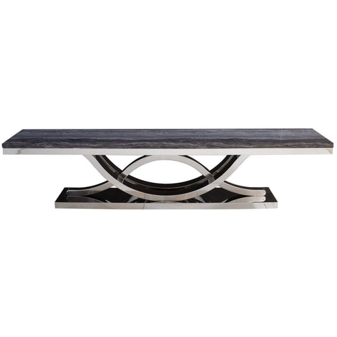 Saturn Grey Marble and Chrome Entertainment Unit (42 x 45 x 200cm)