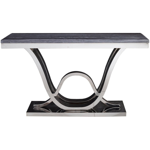 Saturn Grey Marble and Chrome Console Table (76 x 45 x 140cm)