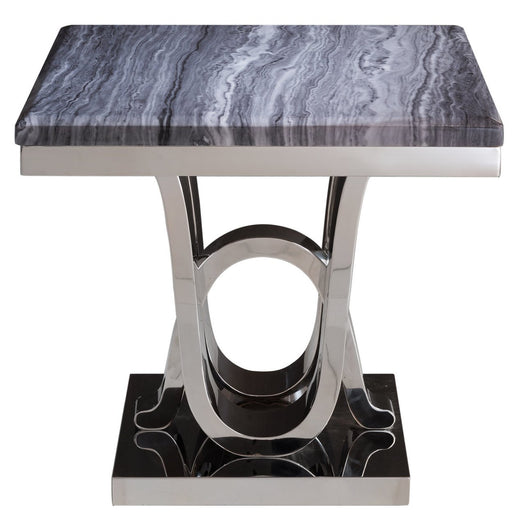 Saturn Grey Marble and Chrome Side Table (55 x 60 x 60cm)