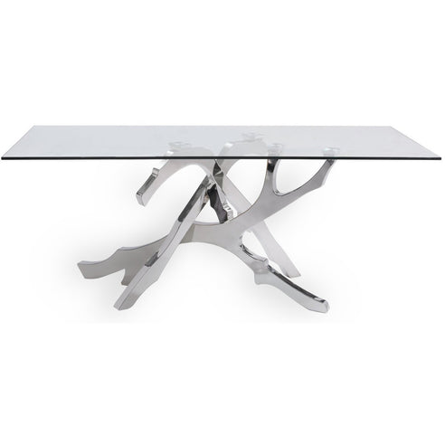 Monterey Glass and Stainless Steel Dining Table (180 x 90 x 76cm)