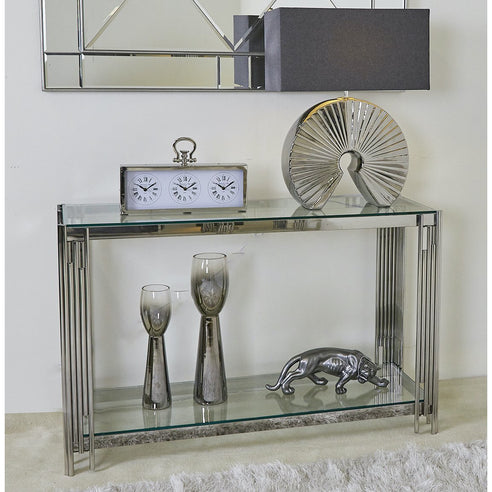 Cohen Metal + Glass Stainless Steel Console Table (120 x 40 x 78cm) - CLEARANCE