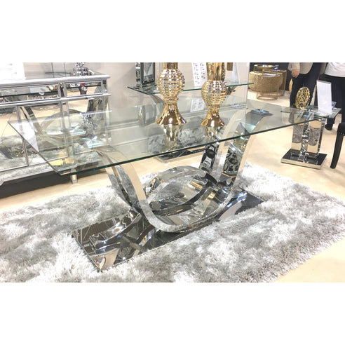Saturn Glass and Chrome Dining Table (76 x 90 x 180cm)