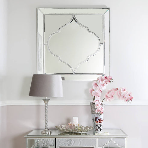 Casablanca Silver Venetian Square Decorative Wall Mirror (100 x 2 x 100cm)