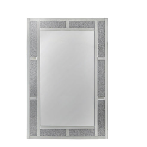 Turin Silver Brick Effect Rectangular Wall Mirror (80 x 2.6 x 120cm)