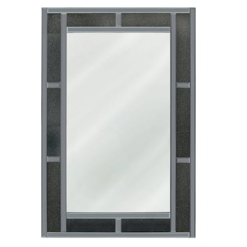 Turin Smoked Black Brick Effect Rectangular Wall Mirror (120 x 2.6 x 80cm)