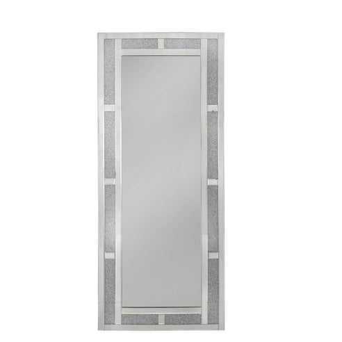 Large Turin Silver Brick Effect Rectangular Wall Mirror (60 x 2.6 x 140cm)