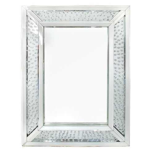 Savoy Floating Crystal Rectangle Wall Mirror (76 x 3.8 x 102cm)