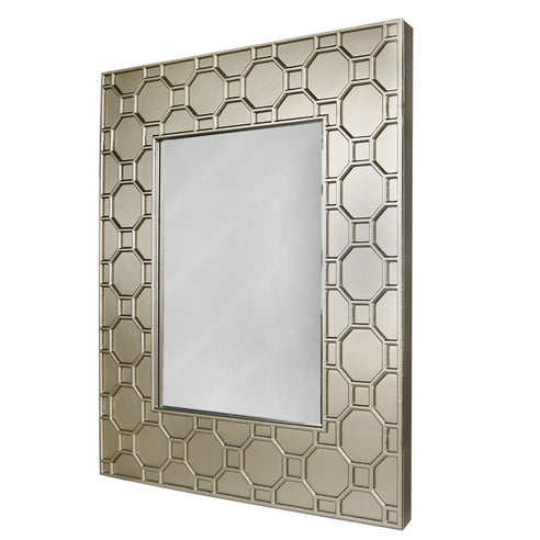 Large Gold Odeon Geometric Wooden Wall Mirror (126 x 6 x 105cm)