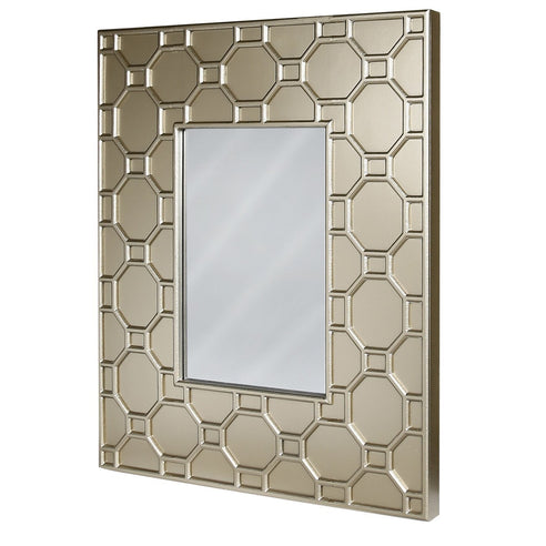 Gold Odeon Geometric Wooden Wall Mirror (102 x 6 x 82cm)