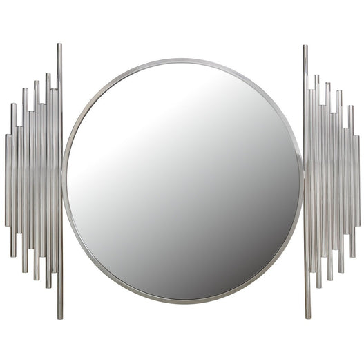 Alexandria Metal Polished Steel Round Wall Mirror (118 x 7 x 90cm)