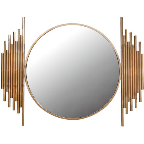 Alexandria Metal Rose Gold Round Wall Mirror (118 x 7 x 90cm)