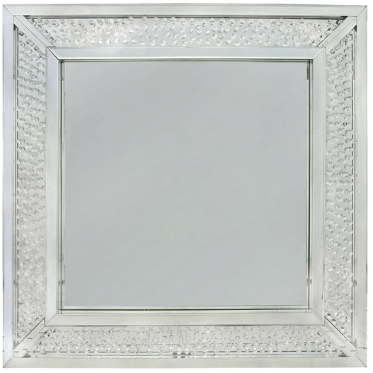 Savoy Floating Crystal Square Wall Mirror (100 x 4 x 100cm)