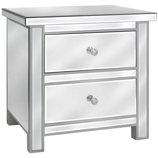 Art Deco Classic Mirrored 2 Drawer Chest with Crystal Handles (58 x 43 x 56cm)