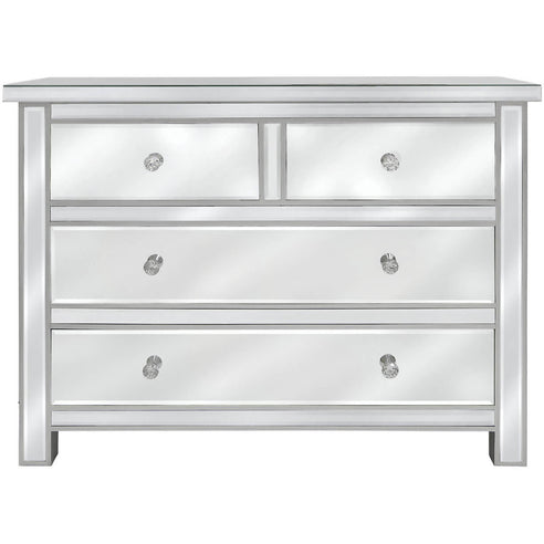 Art Deco Classic Mirrored 4 Drawer Chest with Crystal Handles (100 x 40 x 76cm)