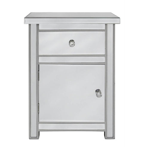 Art Deco Classic Mirrored 1 Drawer/1 Door Bedside Cabinet with Crystal Handles (50 x 40 x 65cm)