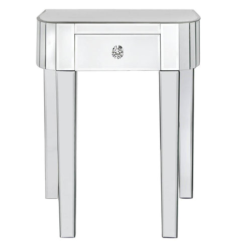 Art Deco Classic Mirrored Small Lamp Table (1 Drawer) (46 x 34 x 60cm)