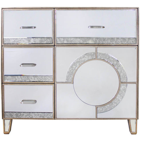 Berkeley Venetian Mirrored 4 Drawer and 1 Door Sideboard/Cabinet (90 x 42 x 85cm)