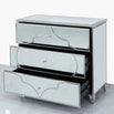 Casablanca Silver Venetian 3 Drawer Chest of Drawers (105 x 45 x 89.5cm)