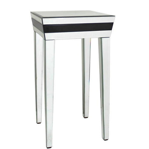 Black Metro Mirrored Tall Side Table (40 x 40 x 72cm)- CLEARANCE