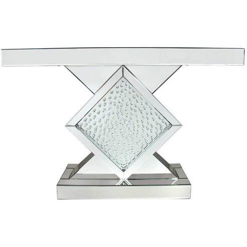 Art Deco Venetian Mirrored Savoy Diamond Frame Console Table (119 x 33.5 x 79cm)