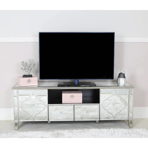 Casablanca Silver Venetian Glass TV / Media Unit (160 x 45 x 55cm)