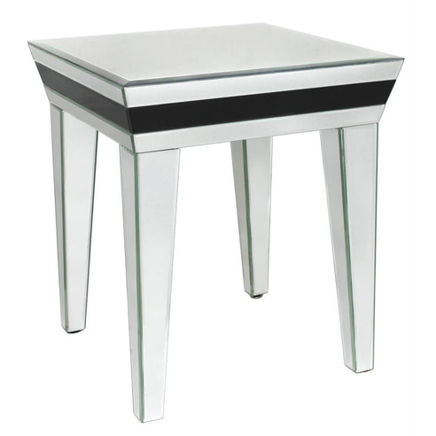 Black Metro Mirrored Side Table (48 x 48 x 55cm)
