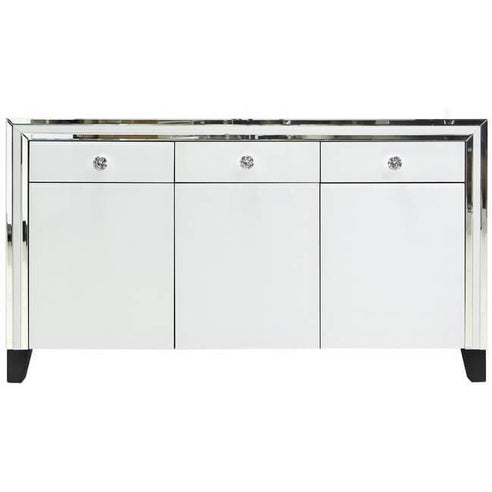 White Metro Mirrored 3 Drawer/3 Door Sideboard (143 x 40 x 79cm)