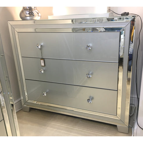 Grey Metro Mirrored 3 Drawer Chest (105 x 45 x 89.5cm)