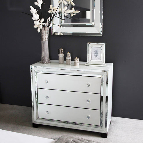 White Metro Mirrored Chest of 3 Drawers (105 x 45 x 89.5cm)