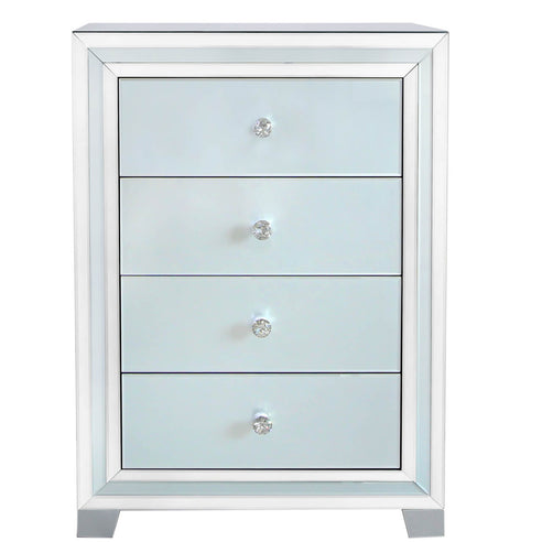 Grey Metro Mirrored 4 Drawer Tallboy Chest (76.5 x 45 x 106.5cm)