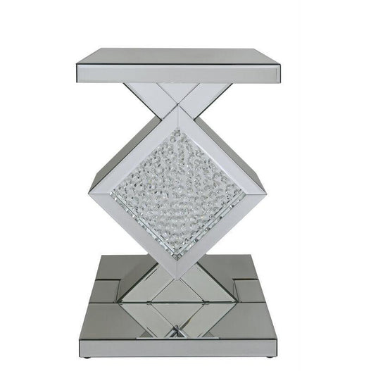 Art Deco Venetian Mirrored Savoy Floating Crystal Diamond Side Table (40 x 40 x 60cm)
