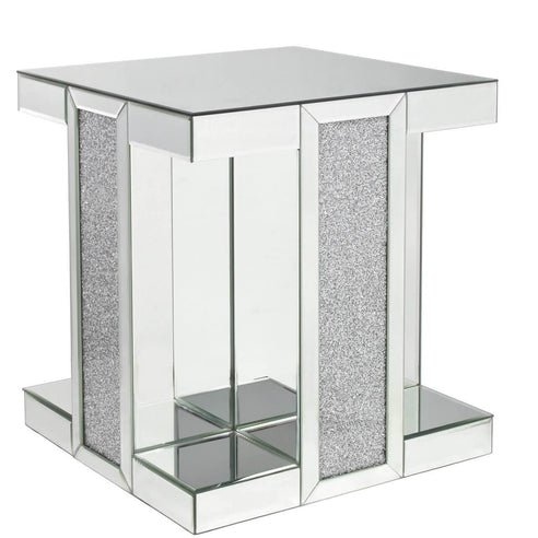 Turin Silver Mirrored Square Side Table (50 x 50 x 56cm)