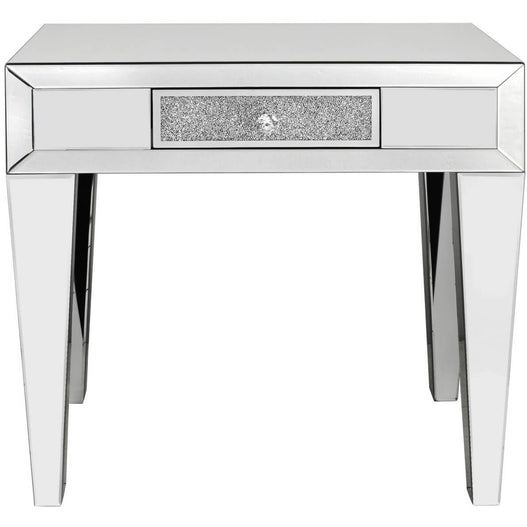 Turin Silver Mirrored 1 Drawer Console Table (75 x 30 x 78cm)