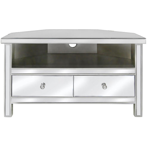 Art Deco Classic Mirrored Corner TV/Entertainment Unit (95.5 x 55.5 x 56cm)