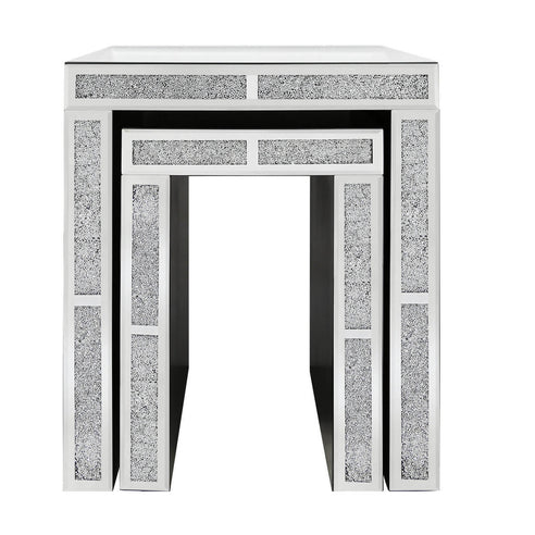 Turin Silver Mirrored Nest of 2 Side Tables (50 x 40 x 59cm)
