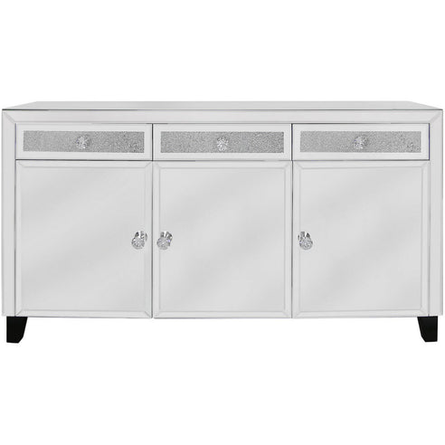 Turin Silver Mirrored 3 Drawer/3 Door Sideboard (143 x 40 x 79cm)