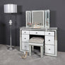 White Metro Mirrored 7 Drawer Dressing Table, Stool and Mirror Set