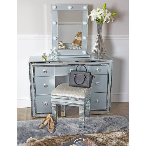 Grey Metro Mirrored 7 Drawer Dressing Table, Stool and Mirror Set