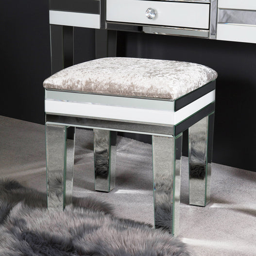 White Metro Mirrored Stool (43 x 45 x 53cm)