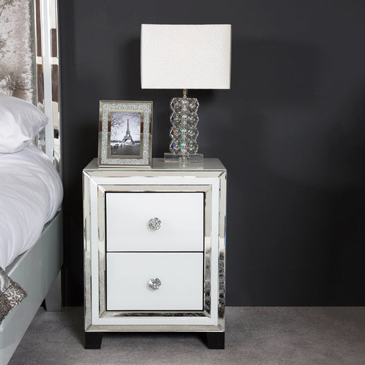 White Metro Mirrored 2 Drawer Bedside Chest (47 x 42 x 61cm)