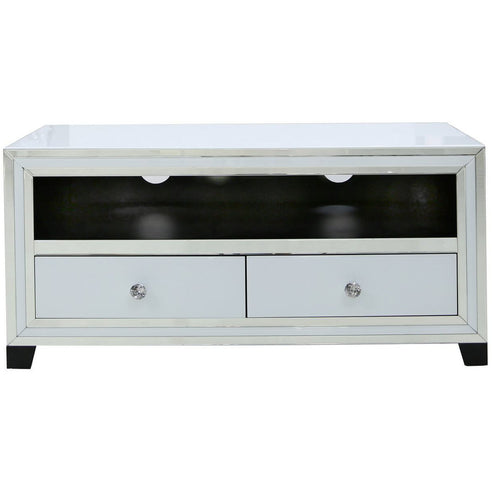 White Metro Mirrored 2 Drawer TV/Entertainment Unit (120 x 40 x 57cm)