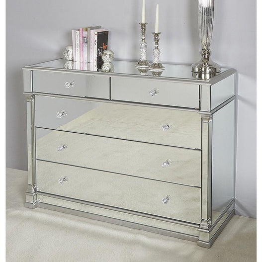 Athena Silver Mirrored 5 Drawer Chest (121 x 48 x 89cm)