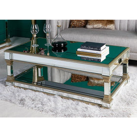 Athena Champagne Silver Mirrored Coffee Table (130 x 70 x 45cm)