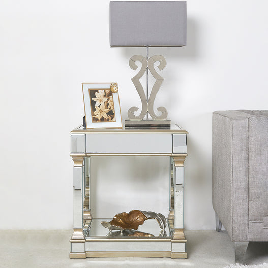 Athena Champagne Silver Mirrored Side Table (60 x 60 x 65cm)